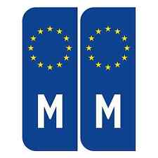 Pair of EC-reg Road Legal Reflective Euro M Malta Stickers for Car Number Plates