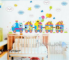 Animal Safari Train Cloud Wall Decals Removable Sticker Kids Art Nursery Decor