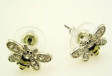 "Joan Rivers PIERCED BEE  Earrings with Crystals  1/2"""" silvertone"