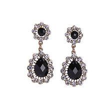 Boucles d`Oreilles Clous Doré Double Goutte Noir Class Elegant AA 15