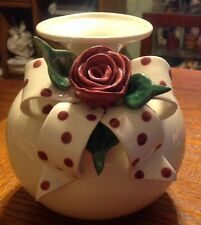 Mud Pie Ivory Vase w/Decorative Polka Dot Bow & Mauve Rose Bud       1651