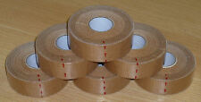 Rigid Zinc Oxide Sports Tan Tape 2.5cm x 13.7m x 6 Rolls (judo, boxing, rugby)