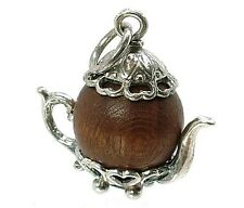 VINTAGE SILVER LUCKY TOUCH WUD WOOD TEAPOT CHARM