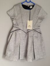 Amazing No Added Sugar Jacquard Silver Party Dress Girls Size 5-6 Years BNWT New
