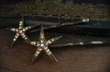Vintage Light Topaz Crystal Star Hair Pins