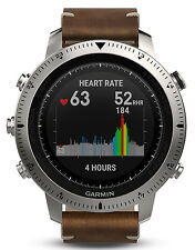 New Garmin fēnix Fenix Chronos Watch w/ Brown Leather Band 010-01957-00 In Stock
