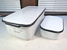 2 Vintage Rectangle Black/White Enamel Refrigerator Box Container lids