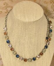 8mm Cup Chain Necklace SILKEN BLUES made w/ LT SMOKED TOPAZ Swarovski CrystalS