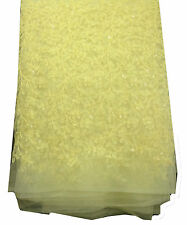 By half mtr lemon yellow net fabric, embroidery light sequins work, blouse kurti