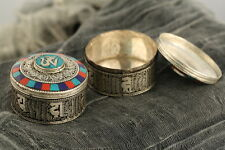 Tibetan Om Jewelery Box Turquoise Coral Detail Artisan Handcrafted White Metal