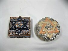 STAR of DAVID round and  Hexagram Trinket Pill Box Art Collectible metal boxes