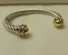 STERLING SILVER CABLE CUFF BRACELET DECORATIVE ENDCAP WITH 14K CLAD  MED/LG