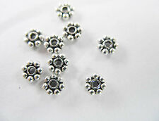 925 Sterling Silver 50 Daisy Spacer Beads 4mm.