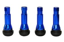 4 x Blue TR414 Metal Sleeved Tubeless Rubber Tyre Valves + Dust Caps