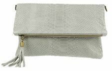Italian Snake Genuine Suede Folded Clutch Bag Shoulder Strap Handbag Womens