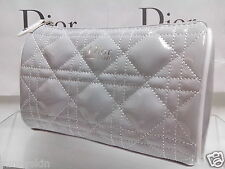 Dior Cosmetic Makeup Trousse Quilted Cannage Latest Bag Clutch Silver F/SHIP HIT
