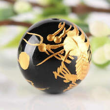 20Pc Black Agate Gemstone Round Ball 14mm Carved Gold Dragon Finding Loose Beads
