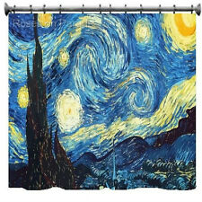 CARNATION FABRIC SHOWER BATH CURTAIN MUSEUM COLLECTION VAN GOGH STARRY NIGHT NWT