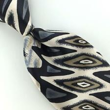 STEFANO ROSSINI ART DECO Geometric GRAY BLACK Silk Necktie I1-31 Excellent Ties