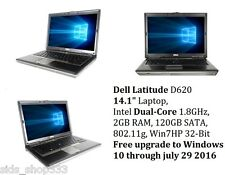 Dell Latitude D620 Laptop Core Duo 2GB Ram DVD 120GB SATA HDD WiFi Win7HP 32-Bit