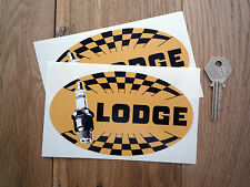 """LODGE Spark Plugs OLD STYLE Chequered Oval Car Stickers 5.5"""" Bike Race Racing"""