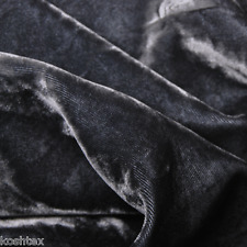 Charcoal Rayon Velvet Woven Fabric Pre Washed Silky by the Yard