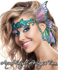 Xotic Eyes Aqua Ear Wings & Tiara Fairy Costume Glitter Crystal Tattoo