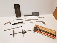 Gauges lot: Trammel Points, Drill Gauge, Protractor, Rulers, Vernier Caliper