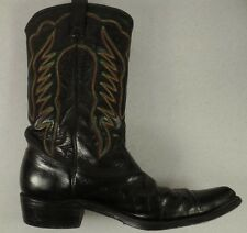 Texas-Made Cowboy Boots Men's 11 D Black with Red, Green & Yellow Stitching