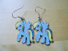 Pair silver tone My Little Pony Rainbow Dash earrings. Must see