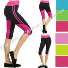 Junior Athletic Sports Fitness Gym Training Waistband Yoga Tight Capri Pants