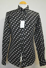 "MENS 60s 70s RETRO NEW VINTAGE BLACK & GREY PENNY DOT SHIRT SIZE XXS-34"" CHEST"