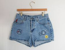 Vintage Medium Wash High Waisted Rise Patchwork Studded Jean Denim Shorts - 30