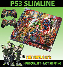 PLAYSTATION PS3 SLIM Adesivo MARVEL DC Action Hero SUPEREROI SKIN e 2 pad Pelle