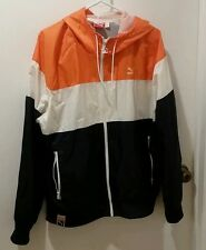 Puma Hooded Windbreaker Jacket Mens Large Orange White Blue Full Zip NICE !