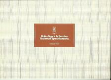 ROLLS ROYCE AND BENTLEY MODEL SPECIFICATIONS CAR BROCHURE OCTOBER 1980 FOR 1981