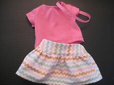 Ziggy Skater Skirt,  Pink Shirt and Hairband for American Girl Doll Gabriel