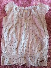 Hollister-white w/navy dot design blouse- Size L