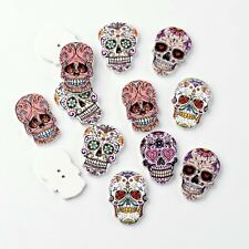 10 x Wooden Sugar Skull Buttons Flatback 2 hole scrapbooking card embellishment
