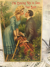 Antique postcard sweetheart Chromo lithograph  to Chetek Wisconsin 1913 Germany