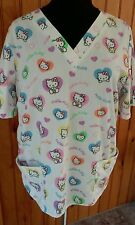womans scrub top hello kitty size large
