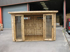 10 x 6  NEW  Pent roofed Summer house toughened glass RRP £1999