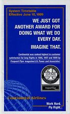 Continental Airlines Timetable  June 10, 1999 =