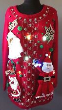 Ugly Christmas Knit Sweater Lights Up Unisex Tacky Party Winner Hand Made L/XL