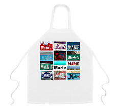 Personalized Apron featuring the name MARIE in photos of signs