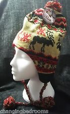 UNISEX MENS LADIES KNITTED PERUVIAN HAT FLEECE LINED  EARFLAPS GOLD REINDEER