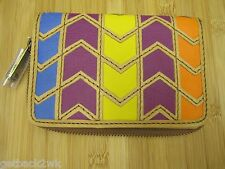 NEW Fossil Explorer Multi Clutch Wallet Purse Handbag $65 Leather Multicolor