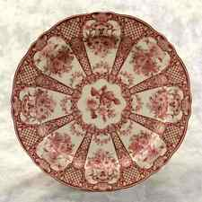RED & CREAM TRANSFERWARE FLORAL COUNTRY TOILE LARGE PLATE Bouquet Teacup Border