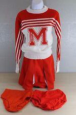 Vintage Orange & White Cheerleader Uniform Sweater & Skirt Set M Diana