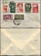 REGNO-Aff. multipla 7 valori Augusto+Marconi+Leopardi-Busta Firenze 9.5.1938